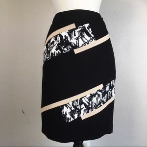 WHBM Abstract Panel Pencil Skirt Size 10